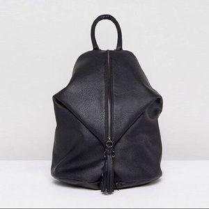 ASOS Vegan Leather Front Zipper Bucket Backpack